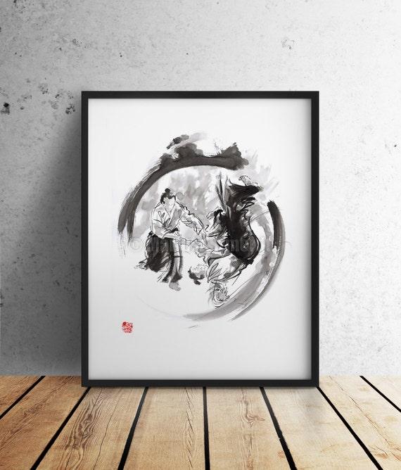 Aikido aikido art print martial arts poster living room