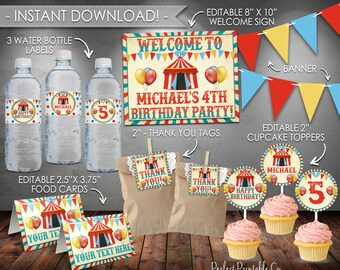 Carnival Party Pack, Carnival Party Kit, Circus Party Package, Circus Party Kit, Birthday Bundle, Boy Red Blue, Instant Download #553