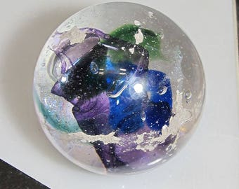 COOL Mix Memorial CREMATION GLASS Blown Glass Orb - Nebula Swirl Paperweight - (Pet Ashes Only)