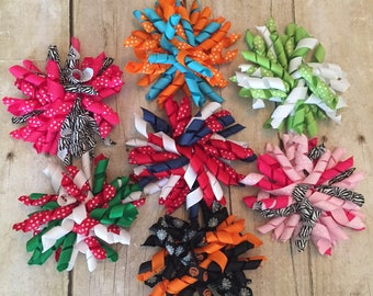 Lot of 7 Korker Bows on Hair Clips