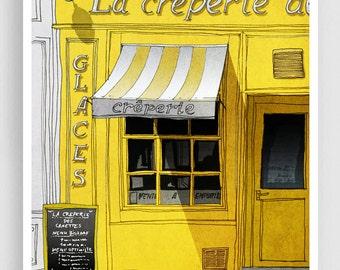 Paris Art Print - La Creperie (yellow) - Paris Cafe Illustration Print Paris decor Home decor Nursery art Kids wall art Yellow Paris Poster