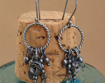 Lila--Oxidized Sterling Silver Earrings with Charms--Handcrafted Fine Silver Rose