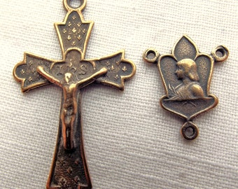 Bronze St. Joan of Arc Rosary Medal Set