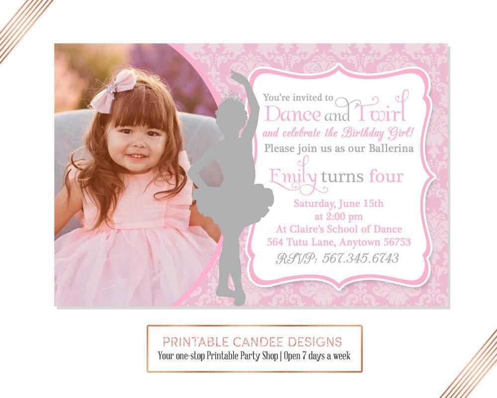 Ballerina Birthday Invitation Pink and Silver Ballerina