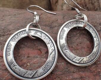 Handmade Silver State Quarter Earrings-West Virginia