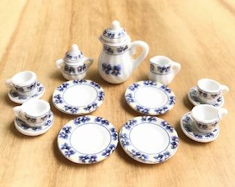 Miniature Tea Set, Dollhouse Tea Set,Mini Tea Pot,Miniature Coffee Set,Dollhouse Tea Pot,Miniature FlowerTea Pot,Dollhouse Accessories