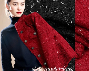 Fashion Polyester Knitted Autumn and Winter Jacket Coat Dress Fabric Red and Black Available 150CM Wide 320G/M E150