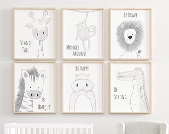Safari Nursery Set, Animal Nursery Decor, Quote Nursery Print, Peekaboo Nursery, Safari Animal Print, Safari Nursery, Neutral Nursery Prints