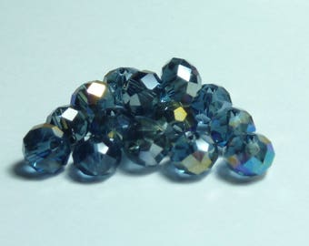 15 6mm Crystal beads faceted iridescent blue-grey