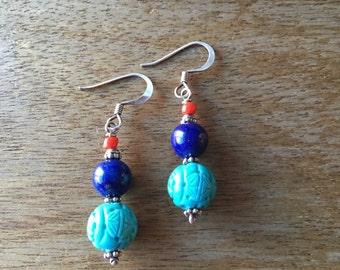 Turquoise Earrings, Lapis Lazuli Earrings, Carved Turquoise Beads, Lapis Lazuli Beads and Red Glass Beads 925 Sterling Silver Earrings