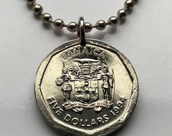 1994 Jamaica 5 dollars coin pendant Jamaican Patois crocodile pineapples Kingston alligator Montego Bay Ackee Caribbean necklace n002200