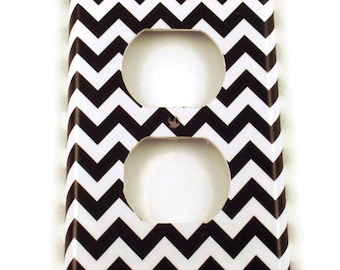 Light Switch Cover Wall Decor Outlet Switchplate Switch Plate in  Black Chevron  (150O)
