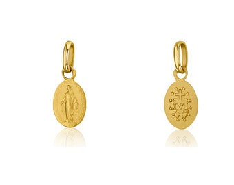 Medal Virgin miraculous 9 mm, solid yellow gold 18 k new (Lourdes France)