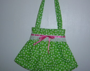 Child's Green and White Print Purse with Lace Trim