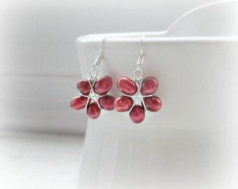 Poinsettia Earrings, Red Flower Earrings, Freshwater Pearls, Sterling Silver Earrings, Cranberry Red Earrings, Red Wine Pearl Earrings