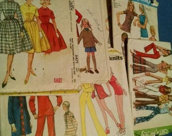 Vintage 1960's and 1970's Clothes patterns