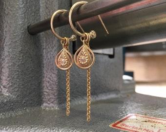 Gold earrings - 14kt gold earrings - Yahel - one of a kind earrings - dangle earrings-gold jewelry - solid gold - special jewelry