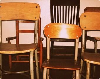 vintage school chairs photo, photography, Heywood Wakefield mid-century modern, industrial, wood, vintage decor, children, school chairs