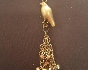 Crow raven brass charm dangle pendant necklace