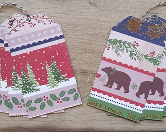 8 Large Stitched Christmas Tags / Holiday Tags / Gift Tags / Luggage Tags
