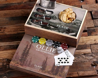 Flasks with Personalized Poker Chips, Cards, Dice Gambling Gift Sets Groomsmen, Father's Day, Gifts for Men  Item # 025348