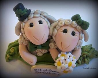 Wedding Cake Topper, Custom, Personalized, Sheep, Two Sheep in a Pod Polymer Clay Wedding/Anniversary Keepsake
