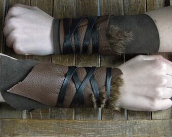 Leather Cuffs - Warrior Viking Tribal Larp Costume Cosplay - Pair #11b