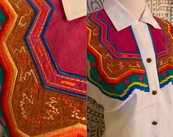 VTG 90s White Colorful WESTERN Embroidered Southwestern Aztec Shirt L