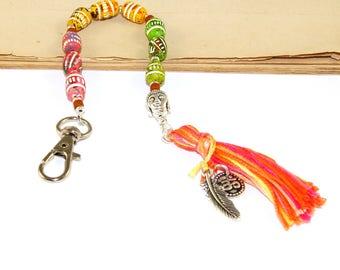 Pocket Mala, 9 Bead Clip-On Mala Chakra Prayer Beads, Bag or Festival Dangle