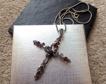 Garnet Pendant, Marcasite Pendant, Cross Pendant, Garnet Necklace, Marcasite Necklace, Cross Necklace, Vintage Necklace, Gifts for Her