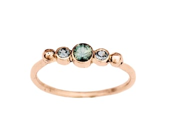 BTWN You and Me   Montana Sapphire Engagement ring  14K Rose Gold Ring   Three Stone Engagement Ring