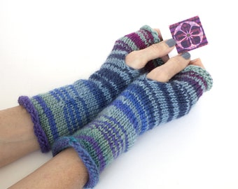 Hand knit wrist warmers, knit fingerless gloves, striped gloves, wool and silk gloves, hand warmers, hand knit gloves, charity donation