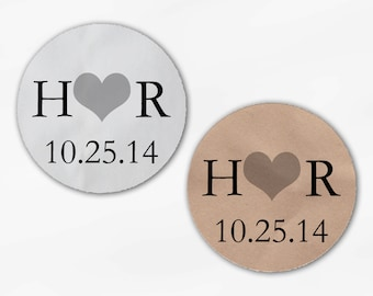 Initials and Heart Wedding Favor Stickers - Black and Gray Custom White Or Kraft Round Labels for Bag Seals, Envelopes, Mason Jars (2004)