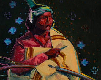 Green Hunter, Print from an Oil Painting, Andrew Shows Artist, NM Painting, Southwest Art, Indians, Wall Art,  NM Decor, Prints