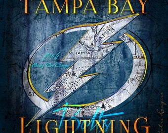 Tampa Bay Lightning Map Art - The Bolts - Perfect Father's Day Birthday, Anniversary or Christmas Gift for Lightning Fan - UNFRAMED Print