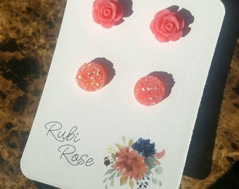 Pink Rose and Pink Sparkle Faux Druzy earring set