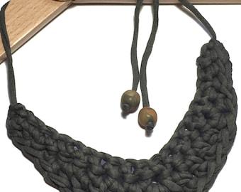Chunky Crochet Adjustable Bib Necklace