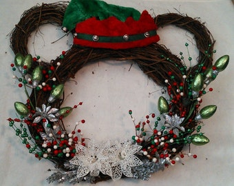 Mickey Mouse Wreath--red, silver, green