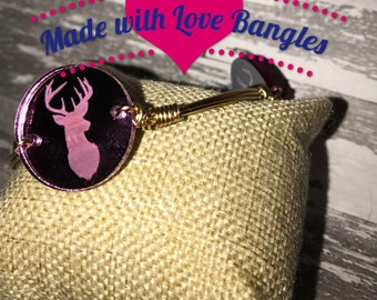 Deer Head Laser Etched Pink  Bangle Bracelet  *Bourbon and Boweties Inspired* Three Stone Bangle Stackable Bangle Bracelet