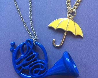 How I Met Your Mother Necklace, How I met your mother key chain, yellow umbrella necklace, blue french horn necklace, HIMYM Necklace
