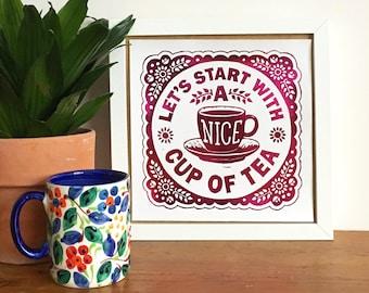 Nice Cup of Tea Foil Print, Decorative Print, Cottage Style Art, Kitchen Art,, British Print, Lino Print, Letterpress