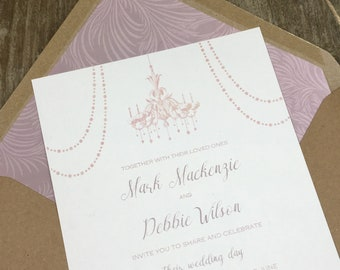 Elegant Wedding invitations - timeless elegance in blush romantic wedding invites, classic wedding stationery, chandelier, gold wedding