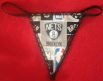 Womens BROOKLYN NETS G-String Thong Nba Lingerie Basketball Underwear
