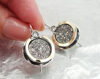 925 Druzy Agate Earrings, Silver &  9K Yellow Gold Earrings, round earrings, Handmade CZ Earrings, Gold druzy earrings  (ms e958)