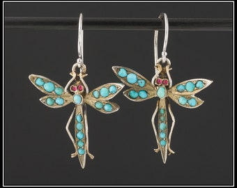 Antique Turquoise Dragonfly Earrings | Gold & Silver Dragonfly Earrings | Antique Conversion | Silver Dangles with 14k Gold Ear Wires