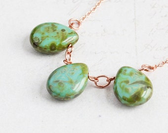 Earthy Teardrop Necklace, Aqua Bead Necklace on Bright Copper Plated Chain, Beachy Necklace, Simple Beaded Jewelry