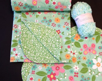 Hemstitch green floral receiving blanket & burp cloth,butterfly double sided flannel, crochet, 40x40, with option to purchase pluscious yarn