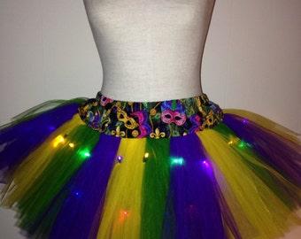 Adult Mardi Gras TuTu with Multi Colored Lights