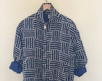 80s blue, white, and black printed silk bomber jacket / windbreaker