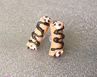 Canolli Stud Earrings ~ Polymer Clay Earrings